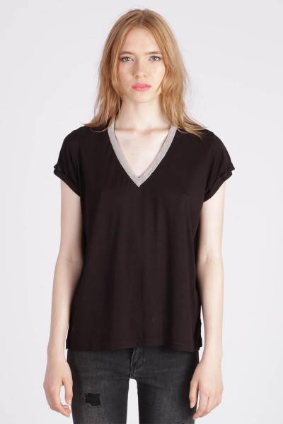 Tee shirt noir en viscose              title=