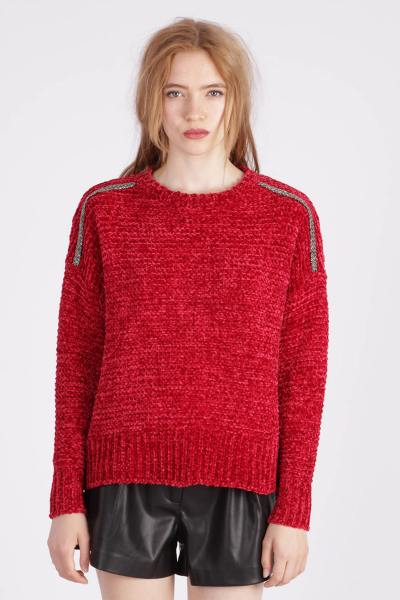 Pull rouge en polyester               title=