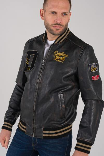 Blouson Homme Daytona BOMBER BADGES COW BUCCO BLACK