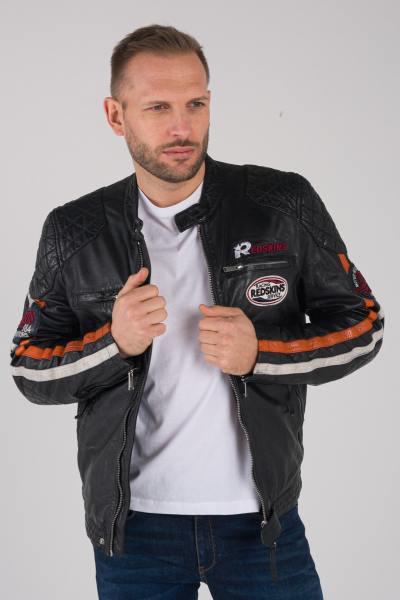 Blouson en cuir noir style motard racing               title=