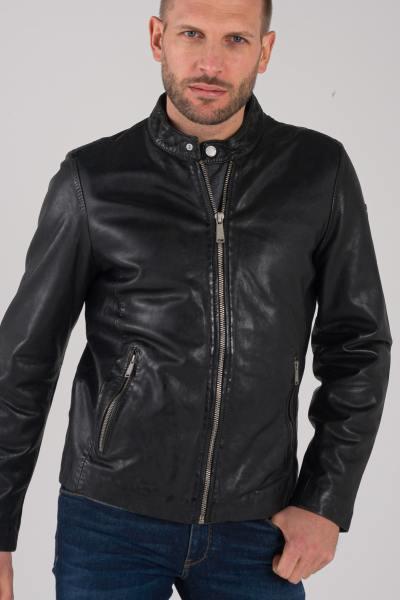 Blouson en cuir noir homme              title=