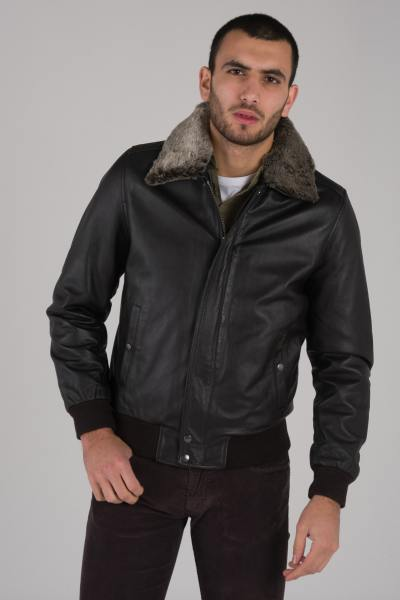 Blouson en cuir look pilote marron              title=