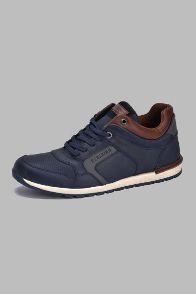 Marineblaue Leder-Sneakers