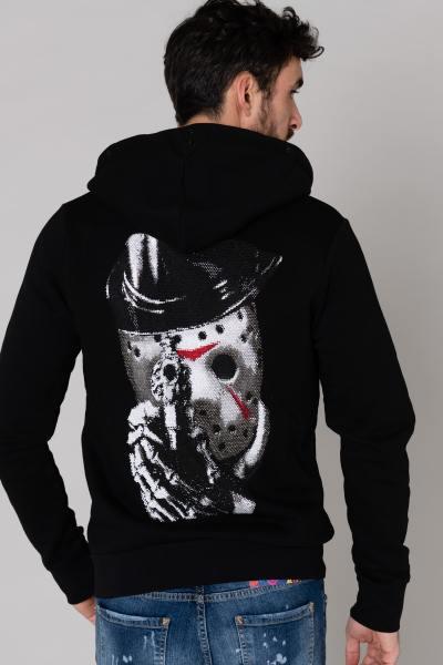 Sweatshirt à capuche noir strass              title=