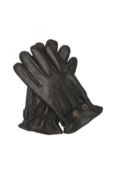 Schwarze Lederhandschuhe mit Druckknöpfen für Männer