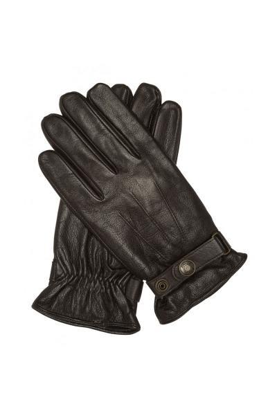 Braune Lederhandschuhe mit Riemen und Druckknöpfen