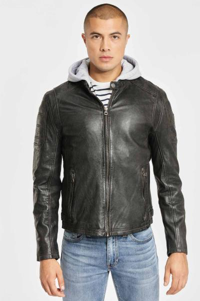 Blouson en cuir anthracite look motard              title=