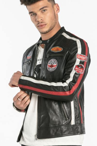 Schwarze Motor Club Lederjacke für Männer