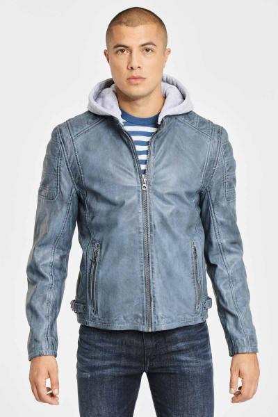 Blouson cuir avec capuche amovible bleu              title=