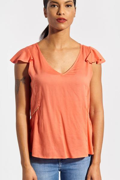 T-shirt col V coupe loose orange