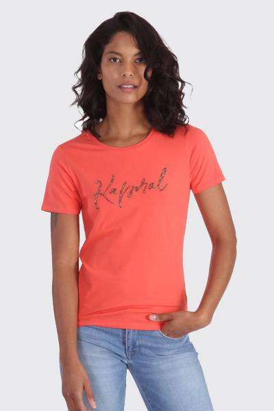 Tee-shirt orange ajusté avec perle              title=