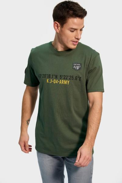 Tee-shirt vert imprimé pour homme              title=