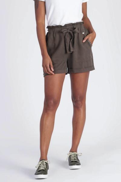 Sommer-Shorts für Frauen aus khakifarbenem Lyocell