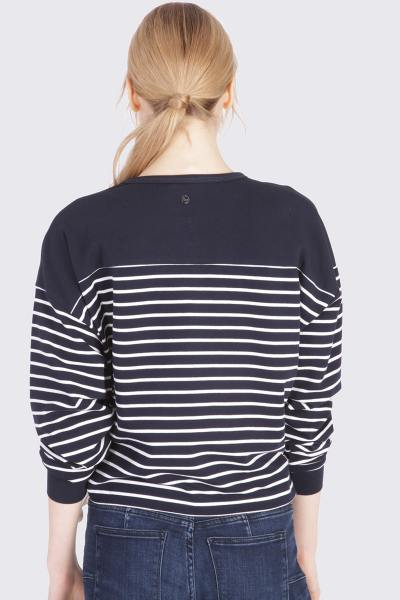 Pull ample marinière femme
