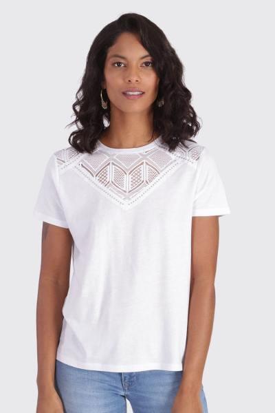 T-shirt femme à manches courtes blanc              title=