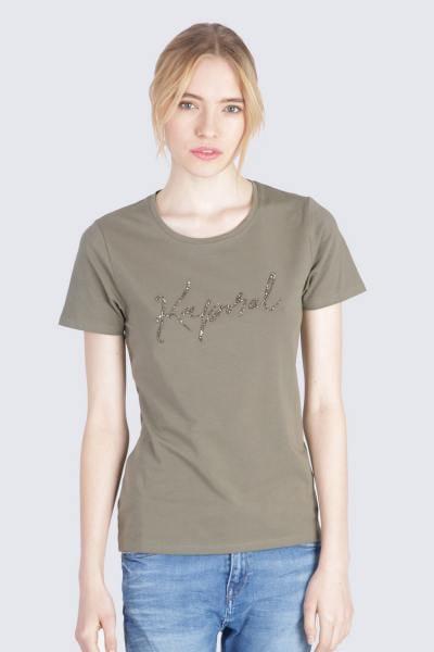 Tee-shirt kaki coupe cintrée              title=
