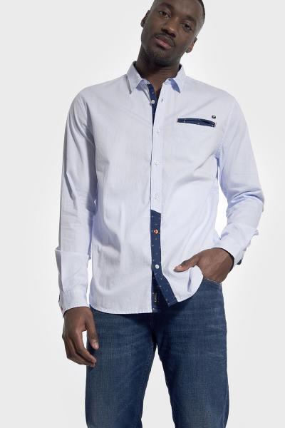 Chemise bleue habillée en coton              title=