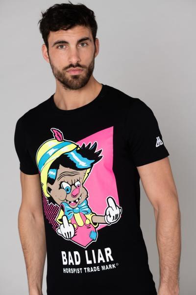Schwarzes T-Shirt Schlechter Lügner Pinocchio