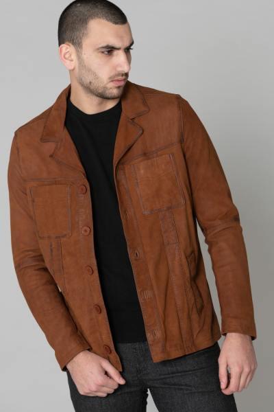 Blazer homme en cuir suede marron              title=