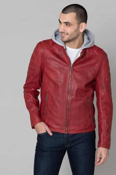 Blouson en cuir rouge pour homme              title=