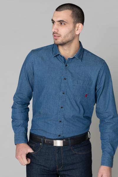 Chemise en jean bleu avec poche              title=