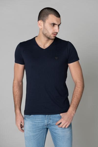 Tee shirt col V bleu marine              title=