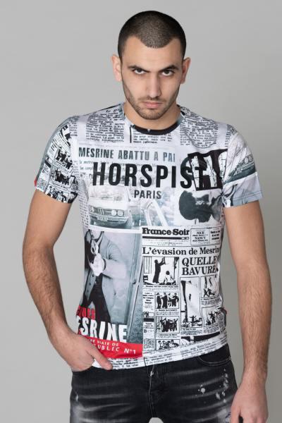 Tshirt imprimé articles de journal Mesrine
