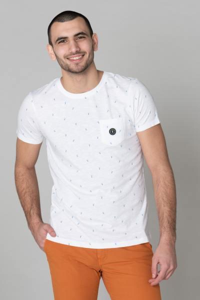 T-shirt homme blanc avec motifs motos              title=