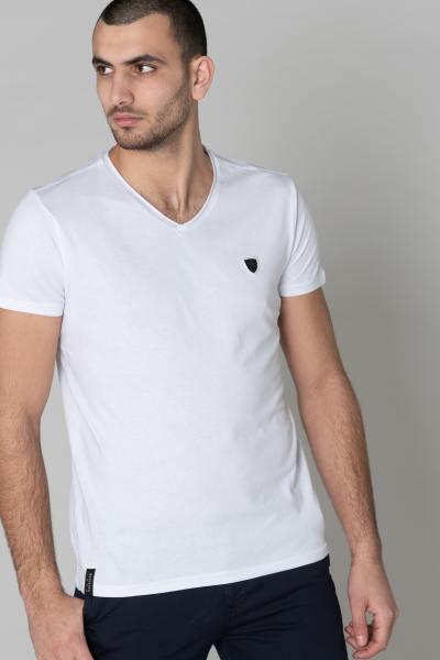 T-shirt blanc uni col V homme              title=