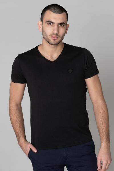 T-Shirt mit V-Ausschnitt, einfarbig schwarz              title=