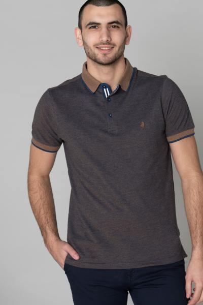 Herrenpolohemd braun und marineblau