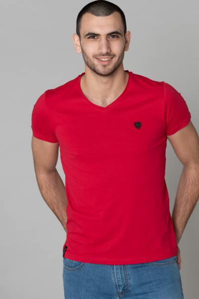 T-shirt col v rouge uni              title=