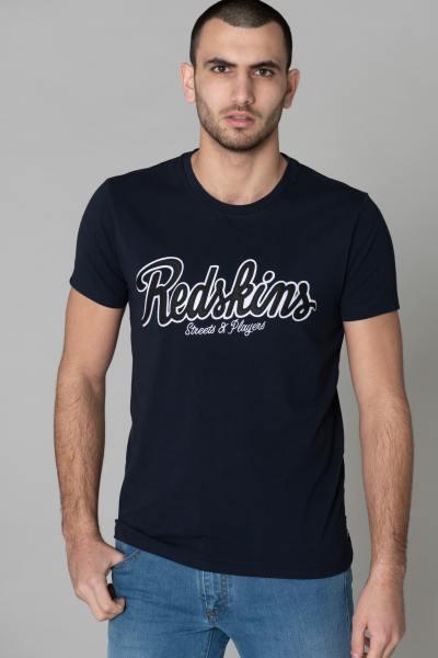 Tee-shirt col rond bleu marine avec logo              title=