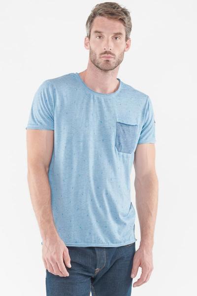 Tshirt bleu homme avec poche poitrine              title=