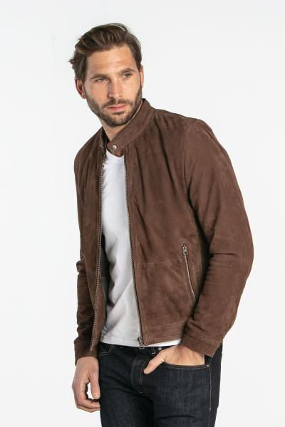 Blouson marron en cuir velours              title=
