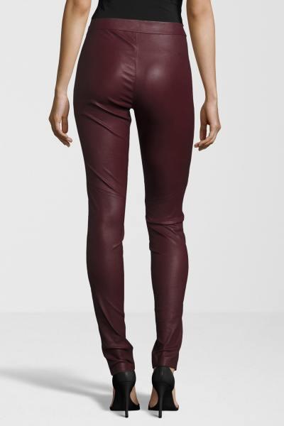 Pantalon femme en cuir rouge