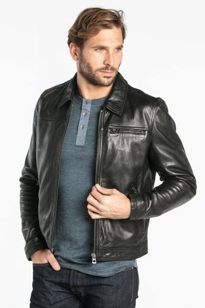 Blouson col chemise en cuir d'agneau noir              title=