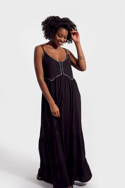 Schwarzes langes Kleid mit Trägern