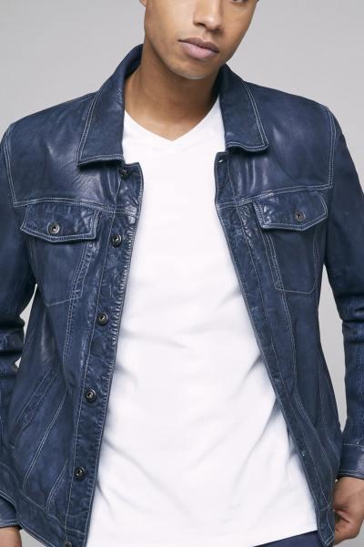 Blouson en cuir bleu col chemise rétro              title=