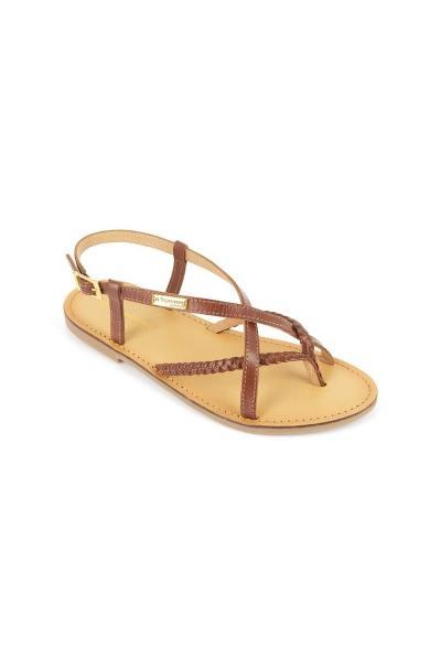 Sandale plate avec lanières en cuir tressé