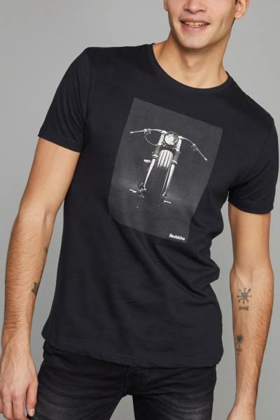 Tshirt coton noir avec imprimé moto              title=