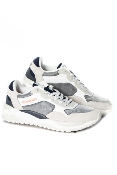 Weiße und marineblaue Kunstleder-Sneakers