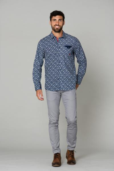 Chemise homme bleu à motif blanc              title=