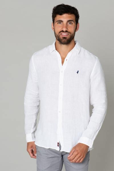 Chemise légère en lin blanche              title=
