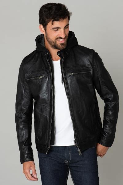 Blouson cuir noir capuche amovible              title=