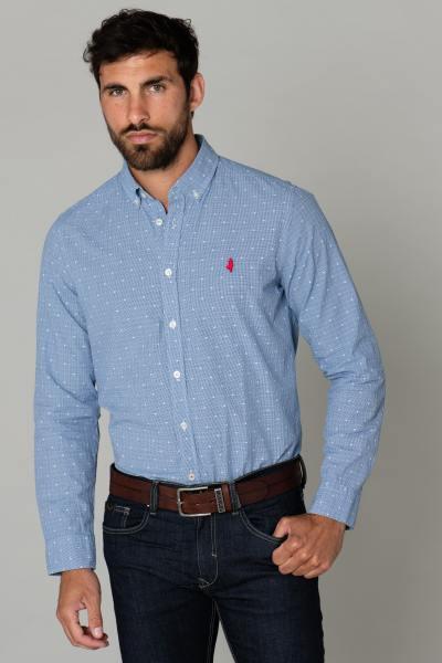 Hellblaues Baumwollhemd mit weißen Mustern              title=