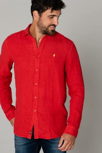 Rotes Leinenhemd für Männer