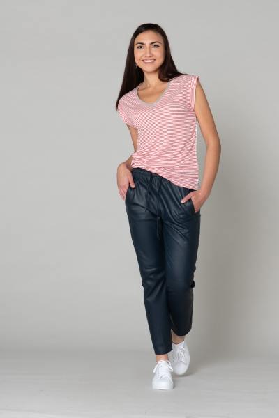 Pantalon en cuir bleu avec taille élastique