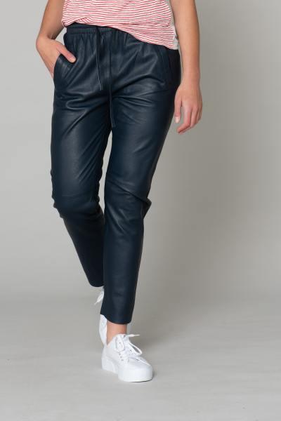Pantalon en cuir bleu avec taille élastique              title=
