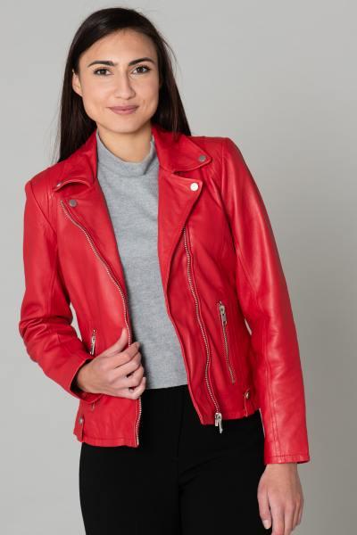 Perfecto femme en cuir rouge              title=